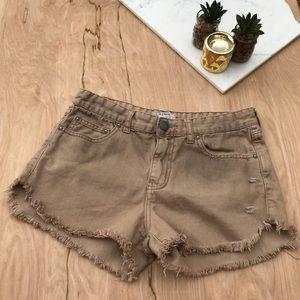 Free People Tan Distressed Shorts
